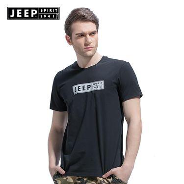 Jeep 夏季速干t恤男纯色圆领舒适亲肤户外徒步运动男士短袖男宽松透气LX0271
