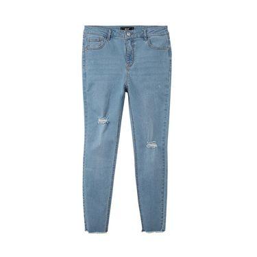 A21 夏季2018新款牛仔裤女紧身小脚弹力休闲潮流破洞浅蓝九分裤4822020015