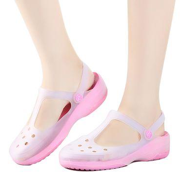 曼莱森 果冻鞋柔软夏沙滩鞋防滑女凉鞋玛丽珍变色坡跟凉鞋防滑厚底