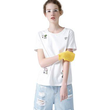 初语 2018夏新款纯棉圆领卡通刺绣短袖T恤女宽松大码休闲打底衫8720131098