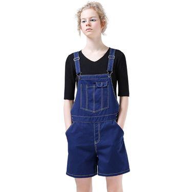 初语 2018新款纯棉背带短裤女夏连体裤休闲薄款宽松显瘦直筒背带裤8722502001