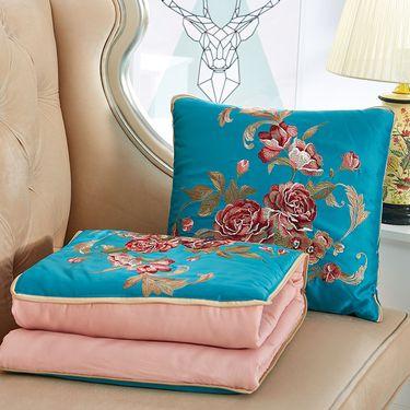艾桐 刺绣抱枕被 高密锦缎靠垫 鸟语花香抱枕 午休小被子