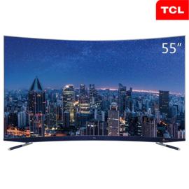 TCL 55C5 55英寸34核人工智能 哈曼卡顿超薄4KHDR曲面电视