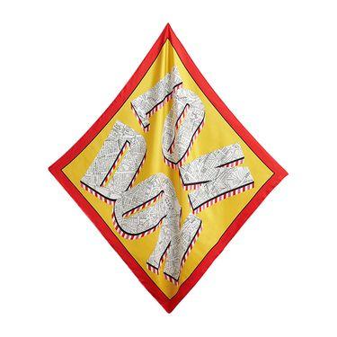 BURBERRY 伦敦印花手工卷边设计亮黄色丝质方巾#4065439  联正国际