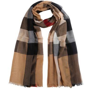 BURBERRY 格纹丝绒莫代尔混纺围巾3969236 联正国际