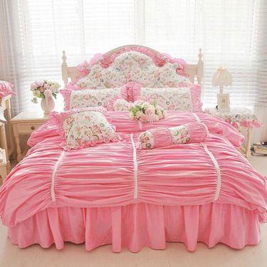 宝瑞祥 全棉印花公主风蕾丝花边四件套  床裙款 花颜粉色 床上用品 床品