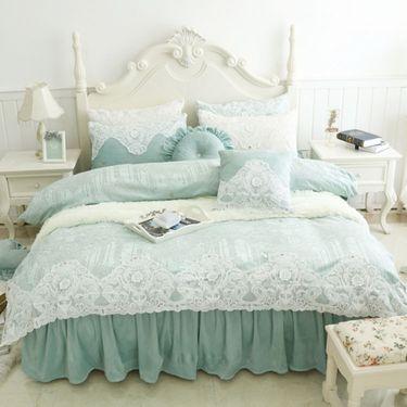 宝瑞祥 冬季保暖水晶绒压花蕾丝四件套  床裙款 床上用品 床品