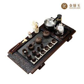 金镶玉 功夫茶具套装 吉祥紫砂套组 实木茶盘茶壶茶杯茶道泡茶炉整套