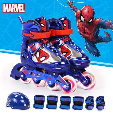 漫威 溜冰鞋儿童全套装男女款旱冰鞋滑冰直排轮滑鞋可调闪光2-10岁