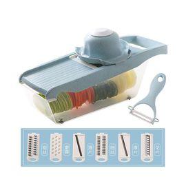万年利 土豆丝切丝器家用厨房擦丝刨丝切片切菜神器-麦秸秆6刀片(配收纳盒陶瓷刨刀)W051