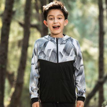 探路者 童装 2018春夏新款户外男童弹力开衫速干跑步外套QAEG83070
