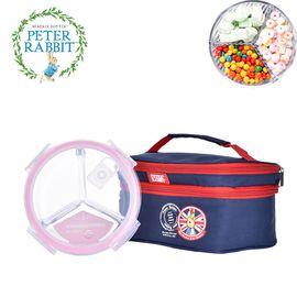 比得兔 /PETER RABBIT(英国) 三分隔耐热玻璃饭盒950ML  微波炉耐热便当盒密封碗套装(送保温包)