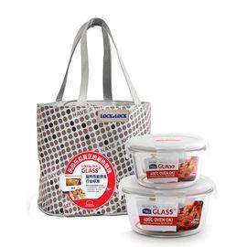 乐扣乐扣 耐热玻璃保鲜盒享乐提袋套装(380ml*1、650ml*1)  LLG 901FU