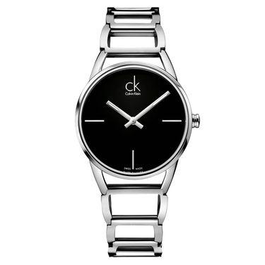 Calvin Klein CK卡文克莱手表STATELY系列女表简约时分针玫瑰金材质银盘钢带 候鸟