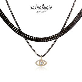 astrologie 恶魔之眼性感黑色双层Choker女士锁骨项链