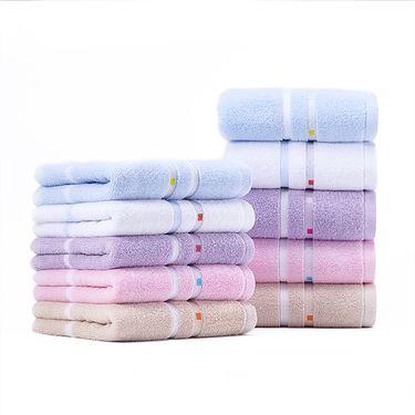 洁丽雅 【买二赠一】缎档纯棉毛巾2件套赠方巾1条赠品颜色随机