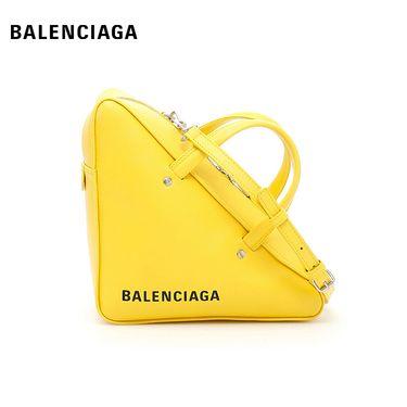 Balenciaga 巴黎世家 女士皮质时尚皮质三明治三角包单肩斜挎包手提包 柠檬黄  洲际速买