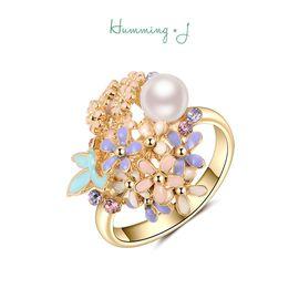 astrologie |Humming J蝴蝶与花簇珍珠戒指女时尚日韩气质食指戒