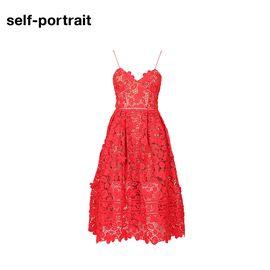 Self Portrait  SELF PORTRAIT 女士镂空连衣裙SP16009R 番茄红