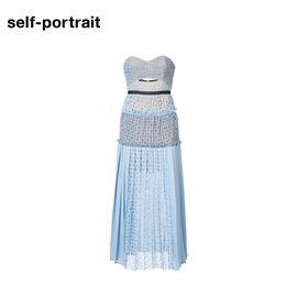 Self Portrait  SELF PORTRAIT 女士长款蕾丝百褶连衣裙 SP17072C 蓝色