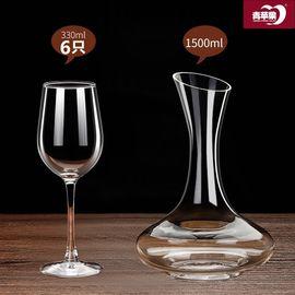 青苹果  无铅玻璃红酒杯6只+醒酒器1500ml 套装 欧式家用大号高脚葡萄酒杯