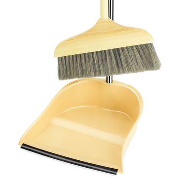 洁比世 扫把套装 实木鬃毛扫把簸箕 不锈钢畚箕扫帚两件套
