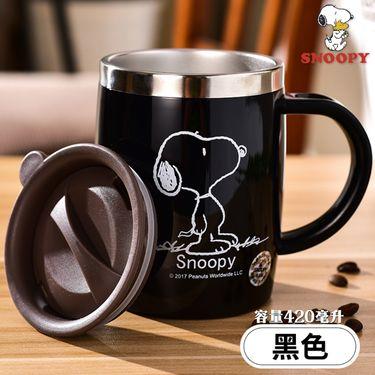 SNOOPY 史努比 黑色迈克杯420毫升防烫漏带盖有手柄广口304不锈钢水杯茶杯咖啡杯