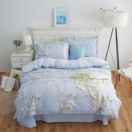 恒源祥 全棉 床上用品四件套--清风花影 床单枕套被套纯棉组合 TBK2018A(200*230cm)