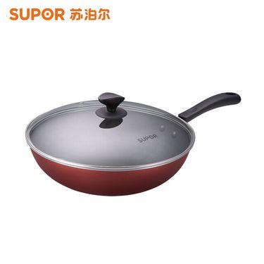 苏泊尔 (SUPOR)30CM炫彩易洁不粘炒锅 珠光红色PC30S3