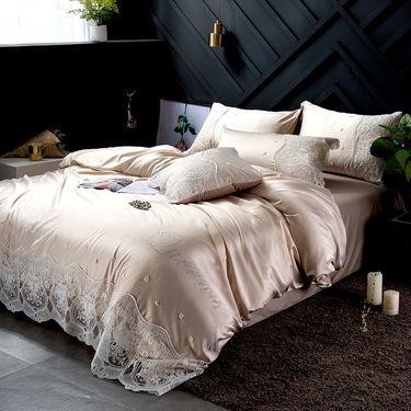 澳西奴 黛佩拉水洗真丝四件套纯棉全棉蕾丝简约纯色花边公主风床上用套件