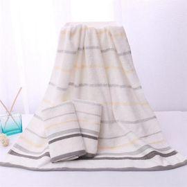 洁丽雅 纯棉吸水经典条纹浴巾(1条装)  6411 (颜色随机)