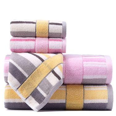 洁丽雅 3条装 全棉吸水舒适浴巾+毛巾  6454+6455(浴巾*1,毛巾*2)