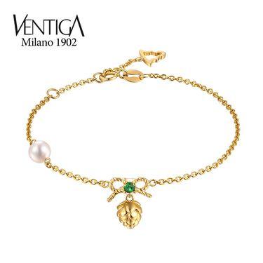 梵蒂加 Ventiga 18K黄金优选天然圆形海水白珍珠手链女款珍珠手镯
