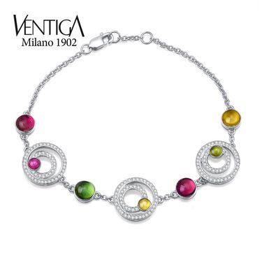 梵蒂加 Ventiga 18K白金圆形多色碧玺手链配镶钻石手镯 彩色宝石