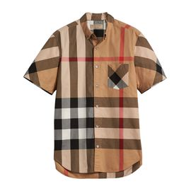 BURBERRY 经典格纹驼色棉质混纺男士短袖衬衫#4045837 联正国际