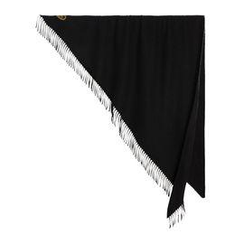 BURBERRY 刺绣细节黑色羊绒男士围巾#4076845
