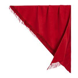 BURBERRY 刺绣细节缤纷红色羊绒男士围巾#4076844