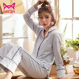 Miiow/猫人 纯棉家居服 宽松长袖长裤韩版开衫可外穿睡衣套装