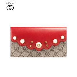 GUCCI/古驰 女士红色人形纹绗缝皮革双G按扣开合长款钱包 431474 KHNKT 9778 洲际速买