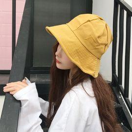柔系 小清新防晒渔夫帽 夏季防晒遮阳帽 日系纯色圆顶刺绣盆帽