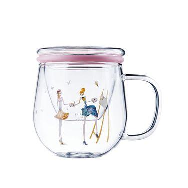 多样屋 PinkLady简约玻璃茶隔杯-350ml