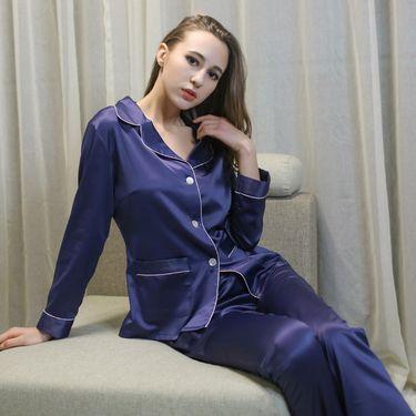 苏吉思 性感女士睡衣套装 仿真丝绸长袖休闲家居服