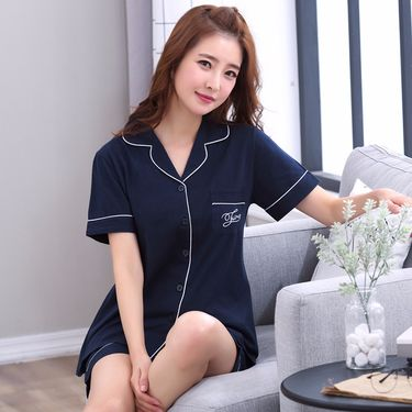 苏吉思 短袖睡衣女士夏季 韩版少女可爱休闲运动开衫翻领家居服套装