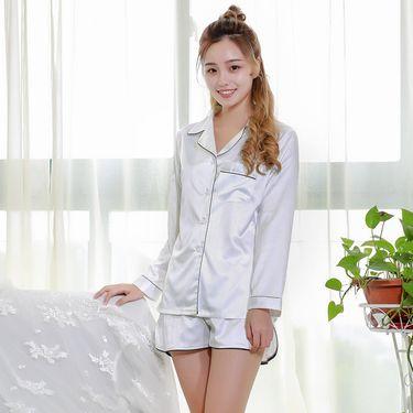 苏吉思 韩版长袖短裤仿真丝睡衣套装韩版简约纯色衬衫休闲家居服