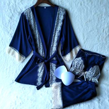 苏吉思 带胸垫睡衣三件套拼色蕾丝短裤吊带背心睡袍日式和风家居服