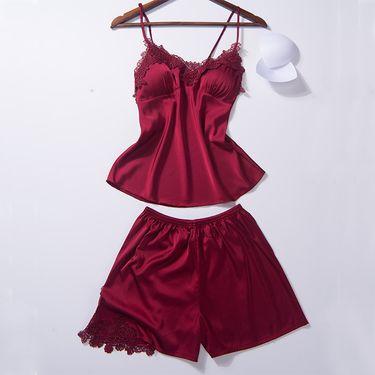 苏吉思 新品女士性感睡衣套装丝绸刺绣花边带胸垫吊带短裤二件套