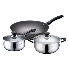 苏泊尔 经典居家三件套 32cm精铸铁锅+不锈钢20cm奶锅16cm汤锅