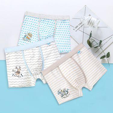Miiow/猫人 儿童内裤纯棉男童平角裤 中大童短裤3条盒装