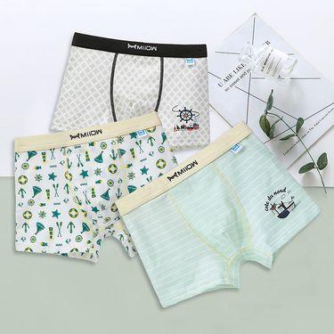 Miiow/猫人 男童内裤儿童纯棉平角裤中大童短裤3条礼盒装
