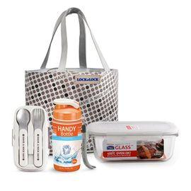 乐扣乐扣 耐热玻璃保鲜盒惬意提袋套装LLG903FU LLG903FU